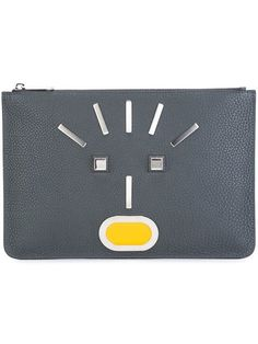 68a72009cd7f FENDI Appliqué Face Clutch.  fendi  bags  leather  clutch  hand bags