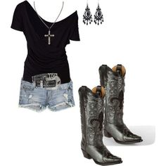 New black cowboy boats outfit summer country girls belts 65 Ideas Cowgirl Outfits, Komplette Outfits, Western Outfits, Western Wear, Summer Outfits, Casual Outfits, Fashion Outfits, Converse Outfits, Country Style Outfits