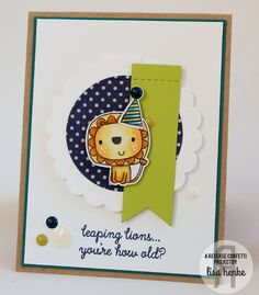Card by Lisa Henke. Reverse Confetti stamp sets: Leaping Lions. and Monkey Business. Confetti Cuts: Leaping Lions, Monkey Business, Stitched Flag Trio and Circles 'n Scallops. Birthday card.