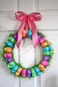 Chic Nest Wreath    For a welcoming springtime door, create a cute nest of colorful peeps.  Learn more at Lisa Frost Studio