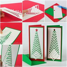 DIY chevron Christmas tree card with free template.  Check tutorial--> http://wonderfuldiy.com/wonderful-diy-chevron-christmas-tree-card-with-template/ #diy #crafts #card