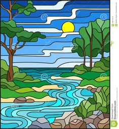 Illustration about Illustration in stained glass style landscape, meandering river on the background of the green banks of trees on a background sky and sun. Illustration of stained, branches, lake - 109110112 Stained Glass Designs, Stained Glass Projects, Stained Glass Patterns, Stained Glass Art, Stained Glass Windows, Mosaic Glass, Glass Art Design, Glass Art Pictures, Broken Glass Art