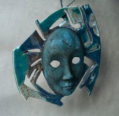 Ceramic mask turquoise blue deep blue cobalt blue by ClayLadyArt
