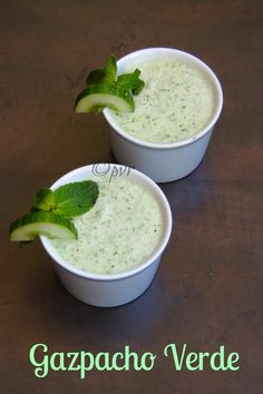 Green Gazpacho/Gazpacho Verde Gazpacho is a Spanish soup made with raw vegetables and served cold, usually prepared with tomato,this soup b...
