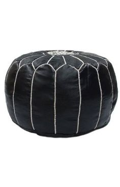 nuLOOM Handmade Casual Living Leather Moroccan Ottoman Pouf (Black), Size 20 x 20 (Cotton) Black Furniture, Leather Furniture, Colorful Furniture, Metallic Furniture, Furniture Dolly, Furniture Sale, Black Leather Footstool, Black Ottoman, Upholstered Ottoman