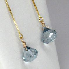 From simone bijoux.  Long dramatic blue mystic quartz earrings for the swinger in you. www.etsy.com/shop/simonebijoux