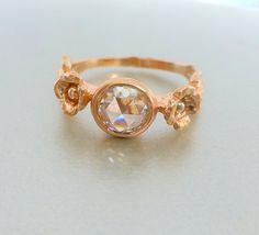 Rose cut Moissanite flower engagement ring  14k by ValerieKStudio, $650.00