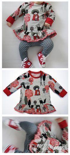 Nähanleitung: Baby-Kleidchen (Baby-Sweater-Variation von groeny) // Stoff: Pink Riding Hood von Lillestoff) // Tutorial - tolle Schritt-für-Schritt-Fotoanleitung! // Babykleid nähen