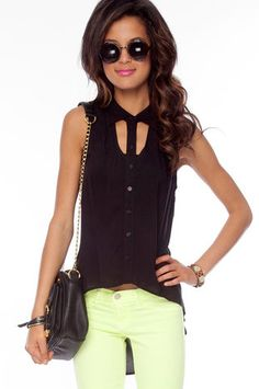 Tux Sleeveless Button Down Shirt in Black $28 at www.tobi.com