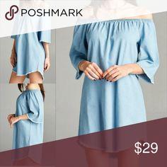 Off Shoulder Chambray Dress Description: Off the shoulder chambray dress with fringe detail on sleeves and hem. Dresses