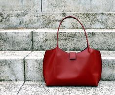 Red leather tote bag leather shopping bag leather by BogaBag, $90.00