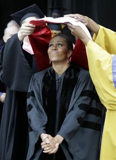25may2015---first lady michelle obama receiving honorary degree from oberlin college, oberlin, ohio
