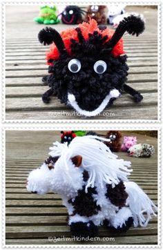 Pompon Tiere aus Wolle basteln