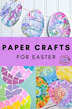 Gorgeous Easter crafts that only use PAPER! These are such easy arts and crafts for kids to make this spring. Pale yellow and blue and pink Easter egg crafts can fill your home and windows! | Easter Crafts for Kids