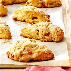 Rhubarb Scones Recipe -My grandfather grows rhubarb and gives us a generous supply. The tartness is similar to a cranberry—perfect for tossing into a scone. —Danielle Ulam, Hookstown, Pennsylvania