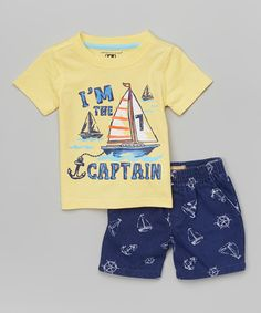 Look at this Kids Headquarters Yellow 'Captain' Tee & Boardshorts - Infant, Toddler & Boys on today! Toddler Boy Fashion, Little Boy Fashion, Toddler Boy Outfits, Toddler Boys Clothes, Kids Pjs, Boys Pajamas, Kids Wear Boys, Kids Headquarters, Summer Boy