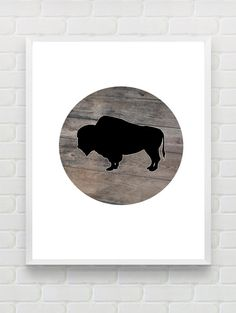 Printable Art Print - Rustic Woodland - Wall Art -Woodland Nursery - Buffalo Silhouette Wall Decor -  Designsbyritz