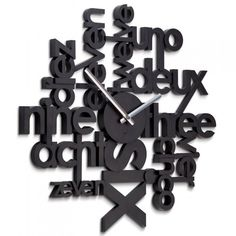 Lingua - noir Umbra, Horloge Design et Originale Unusual Clocks, Cool Clocks, Eclectic Clocks, Tick Tock Clock, Clock Art, Clock Decor, Wall Clock Design, Red Candy, Wooden Clock