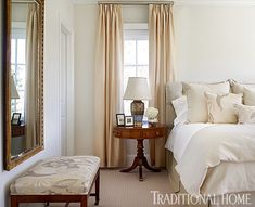 TraditionalHome.com - Lloyd's home by interior designer Bradshaw Orrell in North Carolina, soft buttery colors in guest room