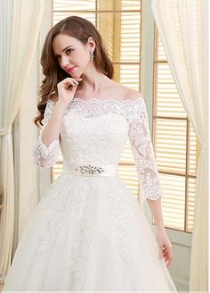 Romantic Tulle Off-the-shoulder Neckline Ball Gown Wedding Dresses With Beaded Sequin Lace Appliques - Adasbridal.com