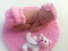 fondant baby/ large fondant baby/ Baby shower/ baptism/ baby cake topper/ first birthday party/ baby on blanket