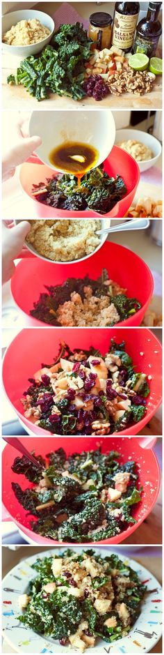 Kale salad w/ quinoa, walnuts, cranberries, & apple- WONDERFUL!! I didn't do the vinagrette.. Instead I just used a LF Balsalmic at the end.
