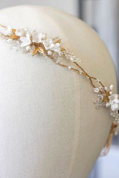Crown of Gold | Florence gold bridal crown with leaves for Elayne