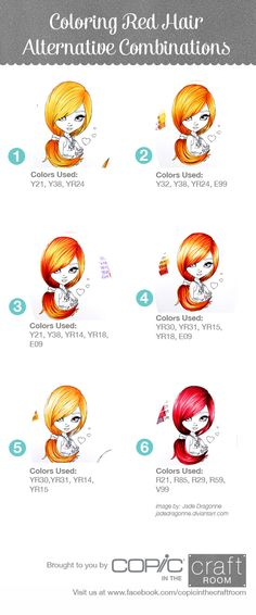 Copic color options for hair