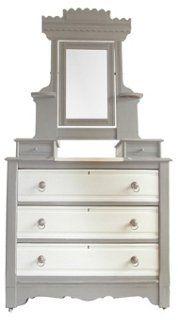 Dove Gray & Ivory Vanity Dresser
