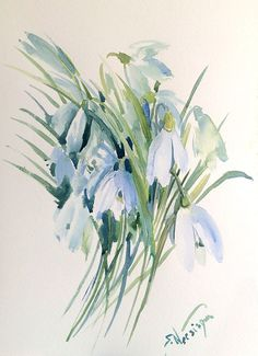 Snowdrops original floral watercolor painting 15 X by ORIGINALONLY
