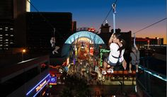 Zipline takes you all the way down freemont street. $15 from 12-6, $20 from 6 to 12  Vegas, Nevada