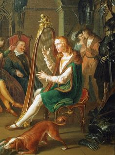 Krammer, Franz (1797-1834) - Harpist in the presence of court society
