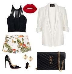 """Sin título #6"" by milly-holguin on Polyvore featuring moda, MANGO, River Island, Yves Saint Laurent, Christian Louboutin, Lime Crime, Valentino y Jaeger"