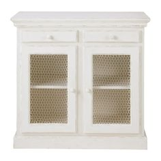 White Pantry Cupboard with Mesh Doors SHABBY