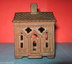 old vtg Cast Iron House Toy metal antique parts miniature building bank doll; front half of bank only