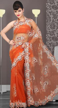 US$ 245.06 Orange #Embroidered Net #Saree with Blouse | Get It Here: http://www.sareegalaxy.com/pages/itemlarge.aspx?itemcode=SVD3I14069