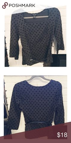 🎉Host Pick-White House Black Market Peplum Top No stains or tears. Comes with black patent belt. White house black market polkadot peplum top. 🎉Host Pick Weekend Getaway 12/16/16 White House Black Market Tops