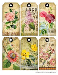 Vintage Printables Botanicals | Vintage Botanical Flower Rose Paris French Antique Floral Bird Thank ...