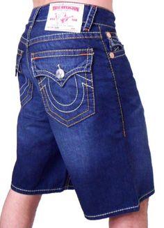 TRUE RELIGION Malibue Dark Wash Denim Mens Jean Shorts lolololol men wearing lil kid shorts.
