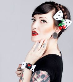 Psycho Monster Cherry & Dots Hair Bow  White by PunkUpBettie, $13.00