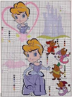 Love the mice Cross Stitch Baby, Cross Stitch Charts, Cross Stitch Designs, Cross Stitch Patterns, Disney Stitch, Cinderella Crafts, Baby Cinderella, Stitch Character, Stitch Witchery