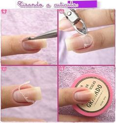 Como tirar cutículas passo a passo e decorar as unhas How to take the cuticles step by step and deco Le Contouring, Types Of Manicures, Nails 2017, Nail Designer, Manicure Y Pedicure, Tips Belleza, How To Make Hair, Perfect Nails, Nail Arts