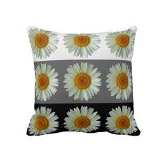White Daisy Throw Pillow from FlowerBarrow . #flowerbarrow #interiors