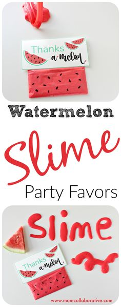 Watermelon Slime sensory play party favors! Slime recipe and FREE birthday printable!!