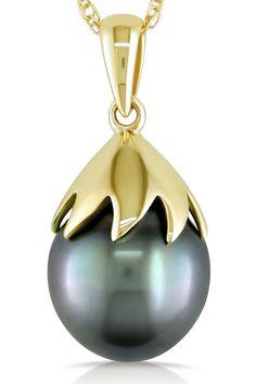 Tahitian Pearl 9.5-10 mm Black Tahitian Pearl Pendant in 10k Gold