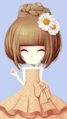 花花姑娘。插画。壁纸。头像。雏菊姑娘浅蓝背景。
