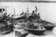 American and South Vietnamese patrol boats on the Mekong River near Neak Leung after their forces captured the Cambodian town, 25th May 1970. They are fighting the communist Viet Cong and Vietnam People's Army in eastern Cambodia during the Vietnam War.