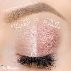 Mauve Shimmer and Pink Opal Shimmer ShadowSense side by side comparison.  These long-lasting SeneGence eyeshadows help create envious eye looks.  #eyeshadow #shadowsense