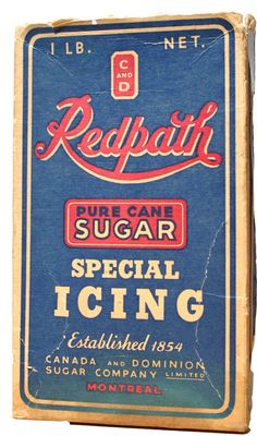 A carton of icing sugar from c. Thing 1, Vintage Packaging, Mini Foods, Icing, 1 Pound, Pure Products, Badges, Table, Sugar
