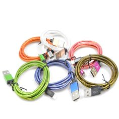 1M/2M/3M 8Pin Nylon Mobile Phone Cables Charging USB Cable Charger Data For iPhone 5 5S 6 6s plus